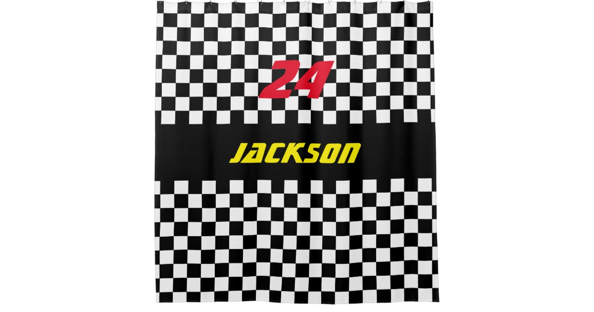 Black And White Checkered Race Fans Shower Curtain Zazzle