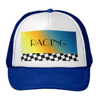 Black and White Checkered Racing Design Trucker Hat