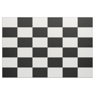 Black and White Checkered Rectangles Fabric