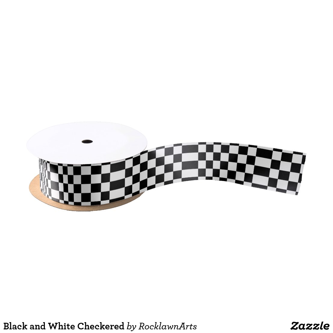 Black and White Checkered Satin Ribbon