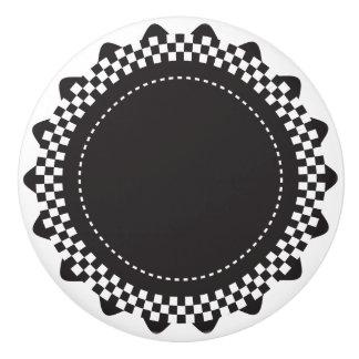 Black and White Checkered Scallop Ceramic Knob