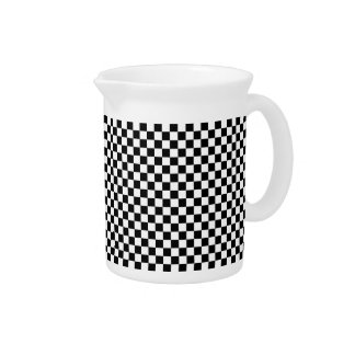 Black and White Checkered Squares Beverage Pitchers