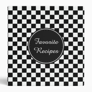 Black and White Checkered Squares 3 Ring Binders