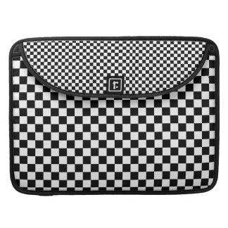 Black and White Checkered Squares MacBook Pro Sleeves
