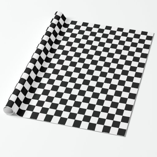 Black and White Checkered Squares Gift Wrap Paper