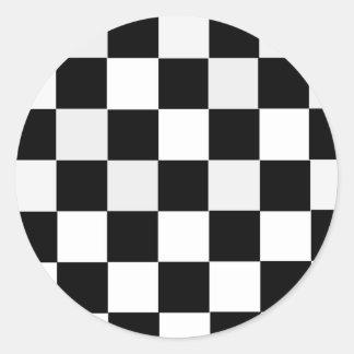 Black and White Checkered Round Stickers