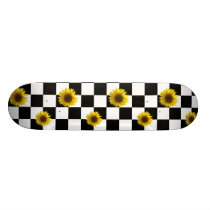 Black and White Checkered & Sunflower Print Skateboard