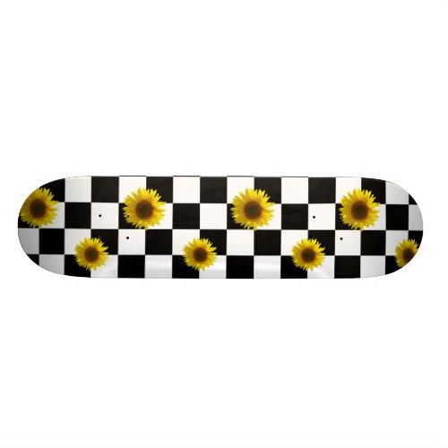 Black and White Checkered & Sunflower Print Skateboard
