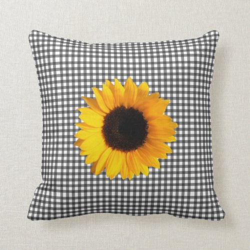 Black and White Checkered & Sunflower Throw Pillow