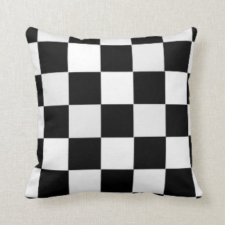 Black and White Checkered Throw Pillow