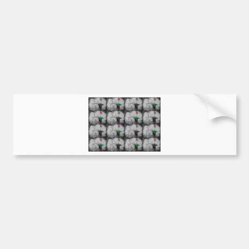 Black and White Checkered with Small Red Flowers Car Bumper Sticker