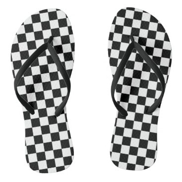 Beach Themed Black and White Checkers at the Beach Flip Flops
