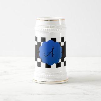 Black and white checkers monogram coffee mugs