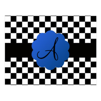 Black and white checkers monogram post cards