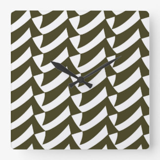 Black and White Checkmarks Square Wall Clock