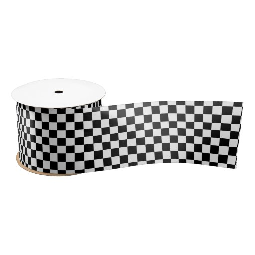 Zazzle Black and White Checks Pattern Satin Ribbon