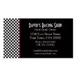 Black and White Checks Red Stripe Business Card