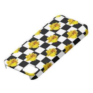 Black and White Checks with Yellow Orchid iPhone 5 Case