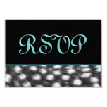 "Black and White Cheetah RSVP Template 3.5"" X 5"" Invitation Card"