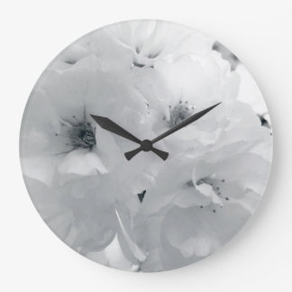 Black and white cherry blossom sakura flowers large clock