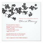 Black and White Cherry Blossoms 5.25x5.25 Square Paper Invitation Card
