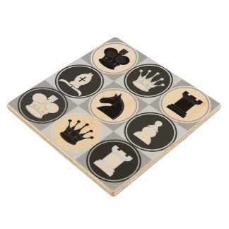 Black and White Chess Pieces Pattern Wooden Coaster
