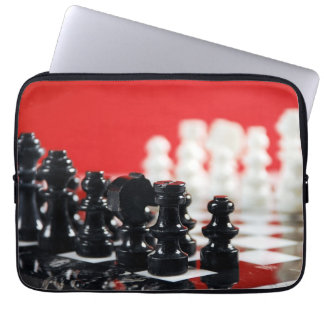 Black and white chess set laptop sleeve