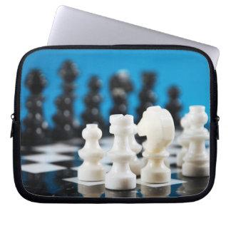 Black and white chess set laptop sleeve