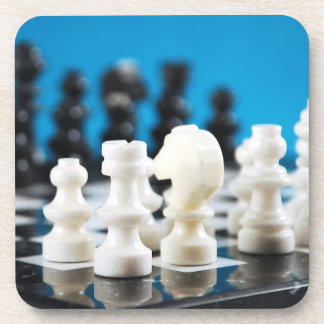 Black and white chess set print coaster