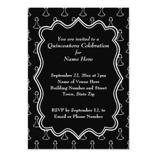 Black and White Chess Themed Quincenera Card