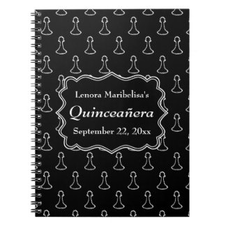 Black and White Chess Themed Quincenera Notebook