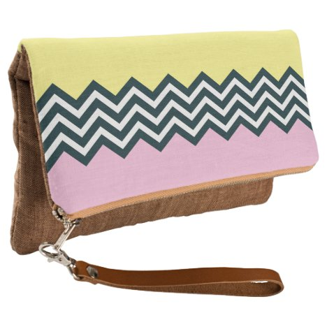 Black and white chevran pink and yellow background clutch