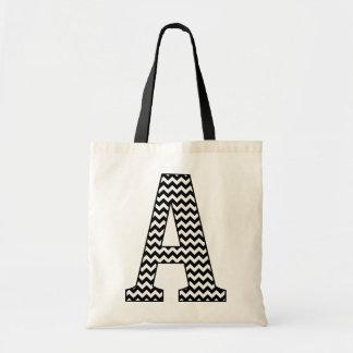 "Black and White Chevron ""A"" Monogram Tote Bag"