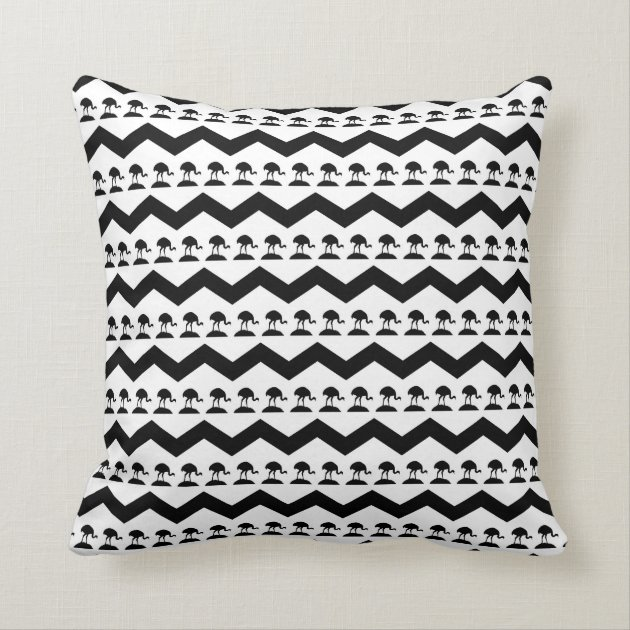 Black And White Patterned Throw Pillows : Black and White Chevron and Birds Pattern Throw Pillow Zazzle
