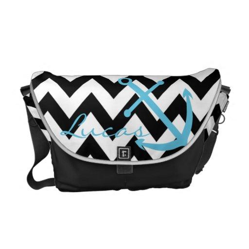 Black and White Chevron Blue Anchor Diaper Bag Courier Bags