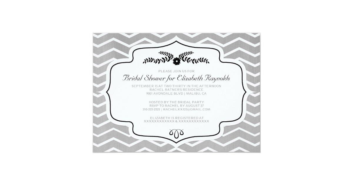 Black and white chevron bridal shower invitations zazzle for Black and white bridal shower invitations