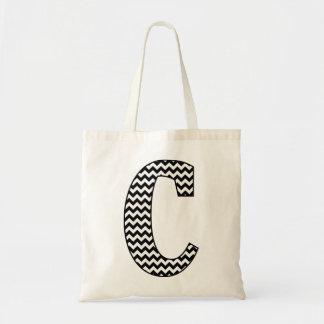 "Black and White Chevron ""C"" Monogram Tote Bag"