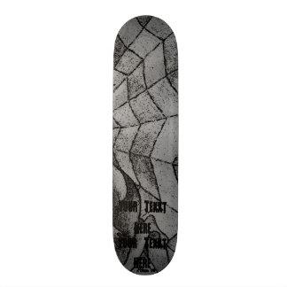 black and white chevron cobweb abstract retro art skateboard