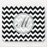 Black and White Chevron - Custom Text Mouse Pad