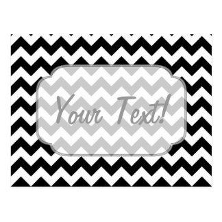 Black and White Chevron - Custom Text Postcard