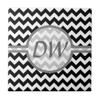 Black and White Chevron - Custom Text Tile