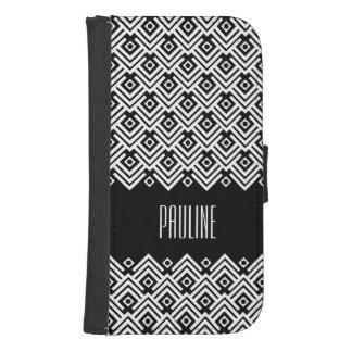 black and white chevron damask name flap case