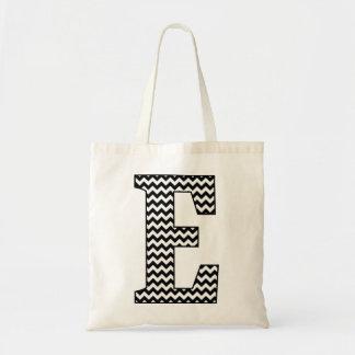 "Black and White Chevron ""E"" Monogram Tote Bag"