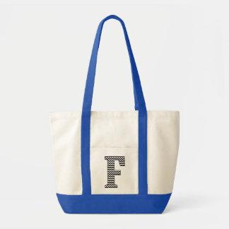 "Black and White Chevron ""F"" Monogram Tote Bag"