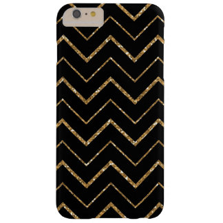 Black and White Chevron Gold Faux Glitter Barely There iPhone 6 Plus Case