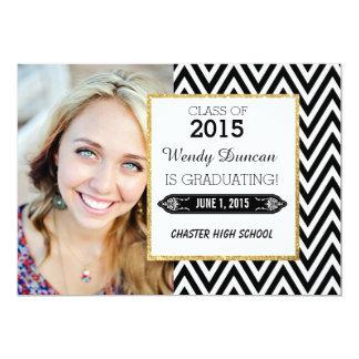 """Black and White Chevron Graduation Announcement 5"""" X 7"""" Invitation Card"""