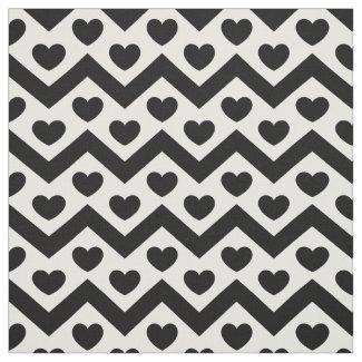 Black and White Chevron & Hearts Pattern Fabric