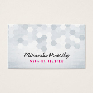Black and White Chevron Hexagonal Pattern Chic Business Card