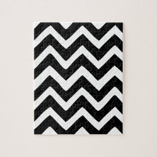 Black and White Chevron Jigsaw Puzzle