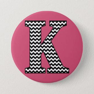 """Black and White Chevron """"K"""" Monogram Button"""
